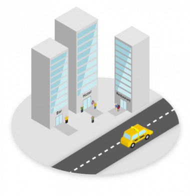 isometric city taxi booking device